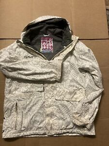 Burton Men's DryRide White Poacher Snow Board Ski Jacket Sz Large - Unique print