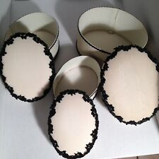 3 Vintage Nesting stack Boxes: Cream-colored with Black Lace Trim - Padded Tops