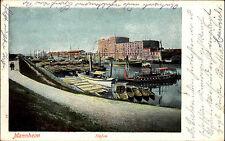 MANNHEIM Litho-AK Schiffe Boote Partie im Rhein-Hafen color Postkarte m. Stempel