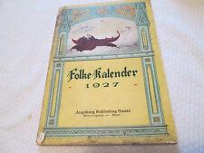 1927 Folke-Kalender  Book Norwegian  Augsburg Publishing House Minneapolis Minn