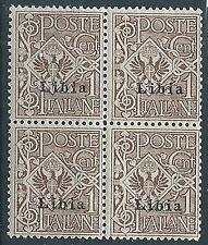 1912-15 LIBIA AQUILA 1 CENT QUARTINA MNH ** - T287