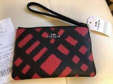 Coach F23715 Large Wristlet CHALK BLACK &RED MULTI Signature  NWT = GIFT RECEIPT
