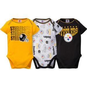 Pittsburgh Steelers NFL Infant Boys' 3-Pack Short-Sleeve Bodysuits, 3/6 Months