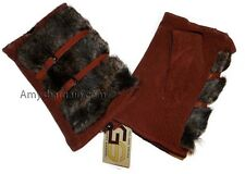 New Winter Finger less Suede Leather Gloves Hand/Wrist Warmer Fur Gloves bnwt