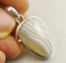 BOTSWANA AGATE Semi-Precious Gemstone 925 Sterling Silver Pendant - E11