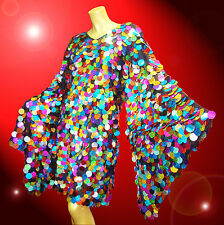 Multi-color Sequin Samba Latin Salsa Dance Dress Showgirl Drag Queen Costume