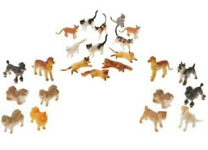 Assorted Plastic Mini Cat and Dog Figures - 24 Pack