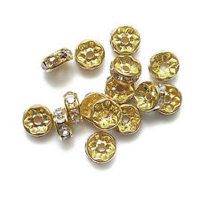 100pcs 6mm Rhinestone Crystal Spacer Beads Gold Plated For Jewelry Making SH