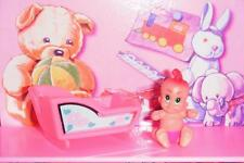 Barbie Little Kelly Miniature Doll Baby Rocking Cradle Pink Mini Baby Doll Lot B