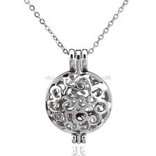 K65 Silver Flat Round Locket Necklace Women Floating Cage Steel Chain