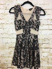 Top Shop Womens Nude Black Skater Dress Size 2