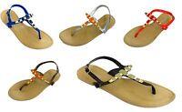 Ladies Womens Gem Flat Ankle Strap Flip Flop Summer Sandals Shoes Toe Post Jelly