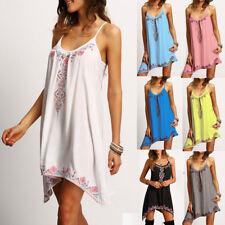 Fashion Womens Loose Sleeveless Floral Party Summer Beach Sundress Short Dress