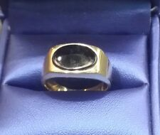 Vintage 10k Solid Yellow Gold Men's Genuine Black Onyx Ring Size 7.5 w.5.2 grams
