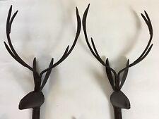 Deer Antlers Stag Rustic Brown Metal Drapery Curtain Holdbacks
