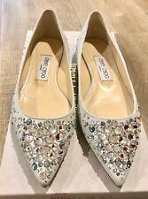 NIB Jimmy Choo Alina Waz Crystal Suede Flat White & Crystal Size 37 or 7 $950