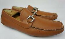 Salvatore Ferragamo Parigi Driving Shoes Cognac Brown Bit Loafers Size 9.5 EE 2E