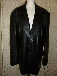 "Mans size L (aprox 42"") vintage 70s black leather jacket."