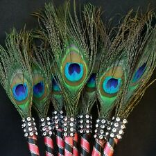 12 Peacock Feather Pen  Favors Weddings,Sweet16,Bridal Shower,Quinceañera,GIft