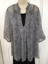 Ladies Top Size 20 M&S Black Mix Sheer Chiffon Tunic Smart Casual Day Evening
