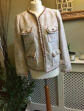 ZARA Beige Tweed Boucle Blazer Jacket Gold Buttons Contrasting Piping LARGE BNWT