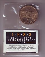 1988 $5 Parliament House Australia Coin opened Queen Elizabeth Royal