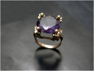 Faux Alexandrite Statement Ring size P 14ct Rose Gold beautiful quality Vintage