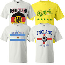 Mens Football T-Shirt 100% Cotton Tee England Brazil Argentina Germany New