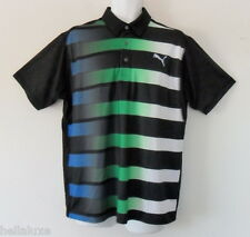 Limited Ed~Puma Golf Gt Raglan Fade Stripe Graphic Polo Uv Protection Shirt~Sz M