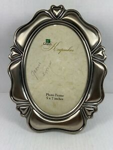 Brushed Nickel/Pewter Look Oval 5 X 7 Picture Frame W/Glass - Freestanding-Heart