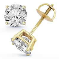 1.50 CTW D VS1 Real 100% Natural Diamond Round Cut Stud Earrings 18k Yellow Gold