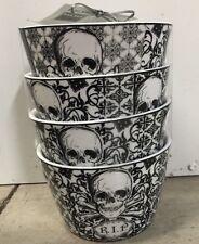 222 Fifth HALLOWEEN SKULLS BLACK WHITE Appetizer Bowls Set Of 4 Skull Poison RIP