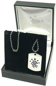 GLASGOW RANGERS FC DOG TAG - STAINLESS STEEL COLOUR CREST PENDANT CHAIN NECKLACE