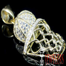 New Yellow Gold Plated Real Sterling Silver Mini Basket Ball Net Charm Pendant