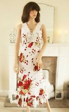 New Spanish dress White red floral bias cut Crochet lace Party Wedding 12 14