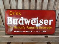 """BUDWEISER Porcelain Sign Advertising Vintage Button 24"""" Beer Collectible USA BUD"""