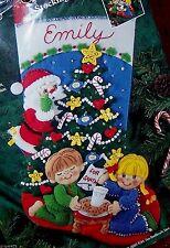 "Bucilla ""COOKIES FOR SANTA"" Felt Christmas Stocking Kit Sterilized VNTG. 83391"