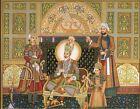 Hand Painted Indian Miniature Portrait Of Mughal Emperor King Bahadur Shah Zafar