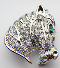 Equestrian Horse Head Riding Race Rhinestone Bling Brooch Hat Lapel Pin BX2666-1