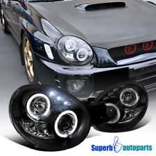 For 2002-2003 Subaru Impreza WRX RS LED Dual Halo Projector Headlights Black