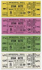 Stan Getz Original 1963 Unused Concert Ticket - Set of 4