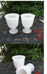 China Hand Carved  High foot wine cup Natural jade wine glass