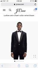 NEW JCREW Ludlow SATIN shawl-collar blazer in velvet 46L BLACK K1528