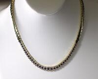 "Sapphire & Diamond 18K Yellow Gold 18"" Heavy Ladies Necklace BELOW WHOLESALE"