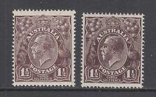 Australia Sg 51, 51a Mnh. 1918 Kgv 1½p black-brown & thin paper
