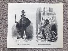 MEXICAN HATTER & HAWKER SALESMAN HATS Antique 1893 Print MEXICO NATIVE AMERICAN