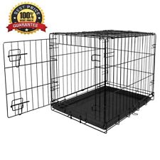 24 Inch Dog Crate Metal Kennel Folding Pet Cage With Tray, Black