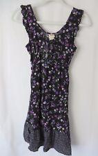 Mossimo Junior Sun Dress Sleeveless Black w Purple Floral Print Size S  #6023