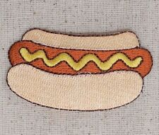 Iron On Embroidered Applique Patch - Hot Dog in Bun Mustard Picnic Food