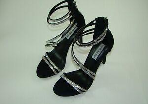 Steve Madden Black Suede Women's Sweetest Heeled Sandal Size 8.5 M JYL11